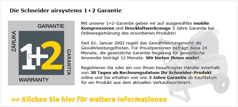 Schneider airsystems 1+2 Garantie